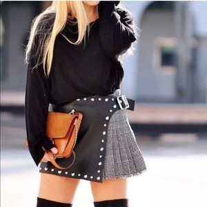 Zara Studded Faux Leather Skort